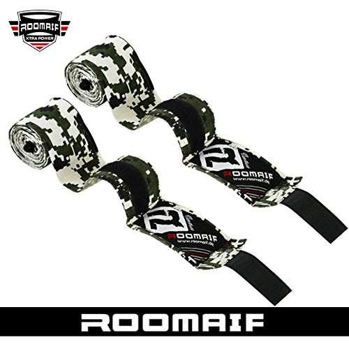 ROOMAIF - Fasce Boxe Bende - Fasciature da Boxe - Fasce da Boxe - Polsi Pugilato Bendaggi MMA Guanti Interi Sottoguanti 3.5 M IT (Camo digi, 3.5 M)