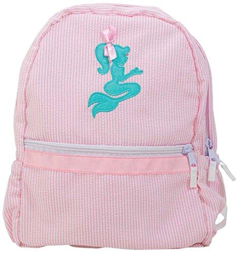 Nikiani Palm Beach Crew Seersucker Seaside Collection Backpack, Pink Mermaid