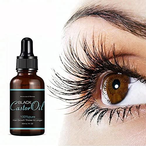 30 ml d'huile de ricin pour la croissance des cils et des sourcils, liquide de soin des cils à l'huile de ricin noir, tonique capillaire liquide pour le soin des sourcils