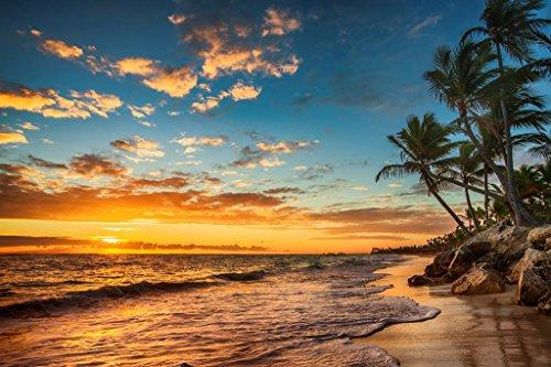 Sunrise on a Tropical Island Paradise Photo Photograph Cool Wall Decor Art Print Poster 36x24