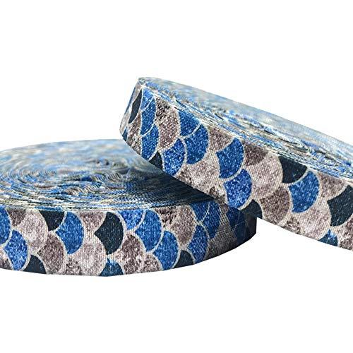 DUO ER 10YARDS Escalas 16mm Brillo Sirena Pescado Imprimir Doblar la Cinta elástica sobre el Arte DIY de Headwear Envoltura de Regalo Accesorios for el Cabello