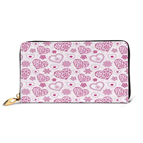 Women's Long Leather Card Holder Purse Zipper Buckle Elegant Clutch Wallet, Vibrant Colored Hearts Floral Arrangement Abstract Shapes Pattern Nature Theme,Sleek and Slim Travel Purse