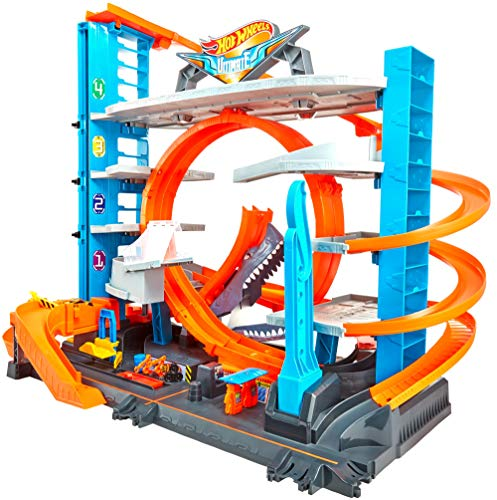Hot Wheels FTB69 - City Ultimate Parkgarage und Parkhaus für Kinder, Garage mit Hai für +90 Autos,...