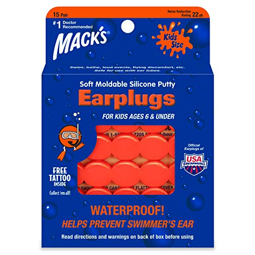 Mack's Soft Moldable Silicone Putty Ear Plugs – Kids Size, 15 Pair – Comfortable Small Earplugs for Swimming, Bathing, Travel, Loud Events and Flying