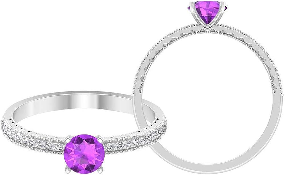 OFFicial shop 5 MM Ranking TOP2 Lab Created Kunzite HI-SI Ring Gold Diamond Milgrain