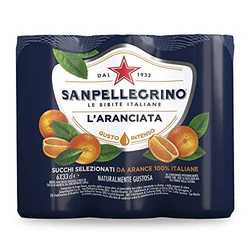 Sanpellegrino Aranciata - Bibita Gassata Note Fresche ed Intense dell'Arancia e del Succo d'Arancia - Succhi selezionati da Arance 100% Italiane - San Pellegrino - Confezione di 6 Lattine da 33cl