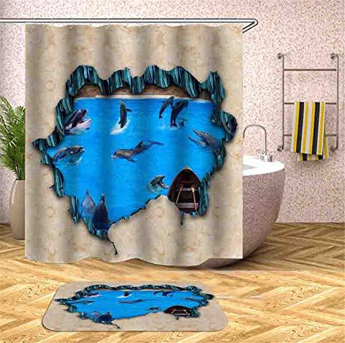 ZZZdz Delphine, Die Im Ozean Spielen. Teppich. Plus Samt. 40X60Cm. Duschvorhang. 3D Hd-Druck. Wasserdicht. 180X180Cm. Haus Dekoration.
