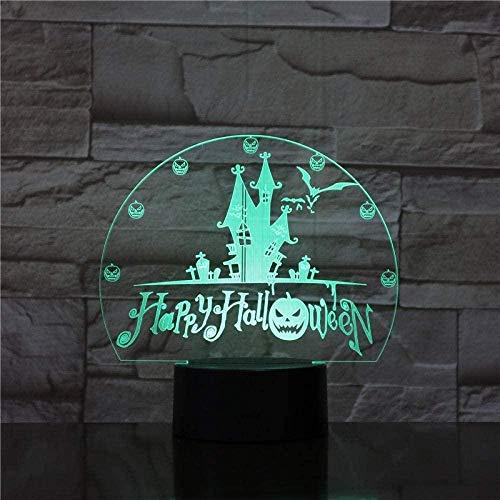 Halloween 3D luz nocturna LED diapositivas de colores USB táctil control remoto lámpara de escritorio decoración del dormitorio del hogar juguete de regalo especial para niños