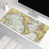 NZTCRFP Alfombrilla De Ratón De Gran Mapa del Mundo Vintage 800X400X3MM Mouse Pad Gaming XXL para Ratón Y Teclado Impermeable Y Antideslizante para Gaming Oficina Casa Colegio Escritorio