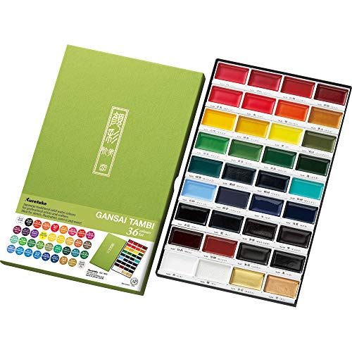 Price comparison product image Kuretake GANSAI TAMBI Watercolor 36 Colors Set,  Handcrafted,  Professional-Quality Pigment Inks for Artists and Crafters,  AP-Certified,  Blendable,  Show up on Dark Paper,  Made in Japan