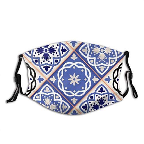 IUBBKI Blue Floral Pattern Mundschutz Unisex Reusable Washable Face Cover FashionforFace Schal Bandana mit Zwei Filtern