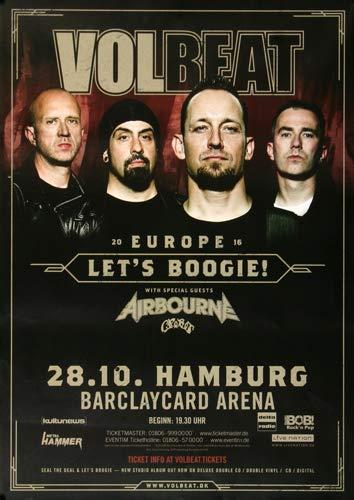 Volbeat - Let`s Boogie, Hamburg 2016 » Konzertplakat/Premium Poster | Live Konzert Veranstaltung | DIN A1 «