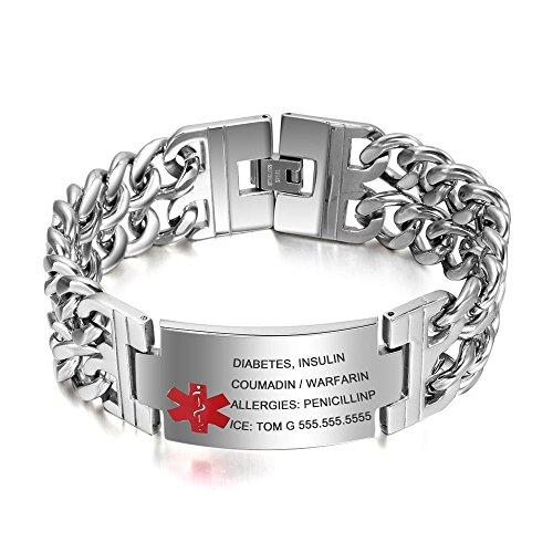 Grand Made 8.5 Inch Free Engraving Personalised Emergency Medical Alarm ID Engraving Bracelets for Men Stainless Steel Life Medical Alert Emergency Bracelet Adult Women's Bracelet