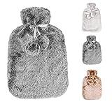 Bouteille d'eau chaude avec une couverture épaisse et luxueuse en cachemire | 2 litres de capacité | Fluffy, bouteille d'eau...