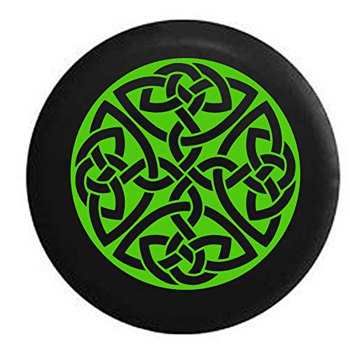 American Educational Products Lime - Celtic Cross Knot Irish Shield Warrior Spare Tire Cover Black 29 in