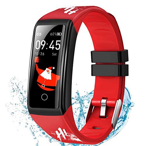 DUODUOGO Smartwatch, Impermeable IP67 Pulsera Inteligente con Pulsómetro, Blood Pressure, Sueño, Podómetro, Pulsera Deporte para Android y iOS Teléfono móvil para Hombres Mujeres Niños Rojo