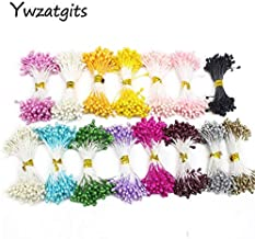 ywzatgits 1350pcs/lot 3mm Artificial Fer Double Heads Stamen Pearlized Craft Cards Floral for Wedding Decor 11030315(1350)