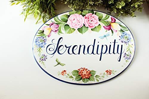 HRHRHREU Aangepaste huisje bord met pioenen Keramische huisteken Welkom teken voor de voordeur Huis naambord Adres plaque voor huis