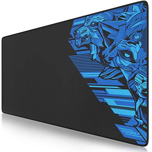 TITANWOLF - XXL Tappetino per Mouse da Gioco - Gaming Mousepad Extra Grande 900 x 400mm - Pad con Base in Gomma Antiscivolo - Spessore 3mm - Design Vector Blue