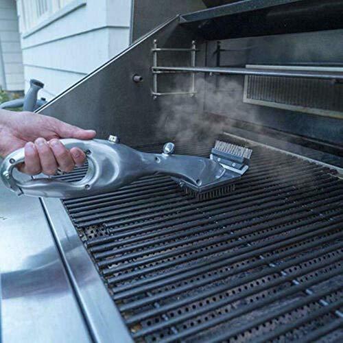 VDSXZ Barbecue Spazzola per la Pulizia del Barbecue in Acciaio Inossidabile Pulitore per griglia all\'aperto con Accessori per Barbecue a Vapore con Utensili da Cucina, Argento