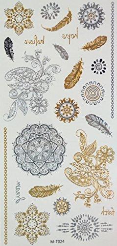 GGSELL Goldene und silberne und schwarze Metallic Temporary Tattoos der indischen und orientalischen Studie Blumen, Federn und Totem Design