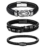 FIBO STEEL 3Pcs Stainless Steel Braided Leather Bracelet for Men Women Leather Wrist Band Cuff Bangle Bracelet with Magnetic Clasp 8 inches