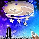 XinZe Kinderlampe Schlafzimmer Deckenleuchte Deckenlampe Pendelleuchte Dimmbar Mit Fernbedienung Moderne Led Kreative Weiß Eisen Acryl Sterne Mond Wolke Kinderzimmer Dekoration Hängelampe,Weiß,52cm