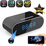 Wireless Hidden Camera 1080P WiFi HD Night Vision Spy Cam Clock Mini Camera 140° Wide-Angle Video Recorder Motion Detection Remote Nanny Cam -Home Security Monitor Camera Real-Time Viewing Via App