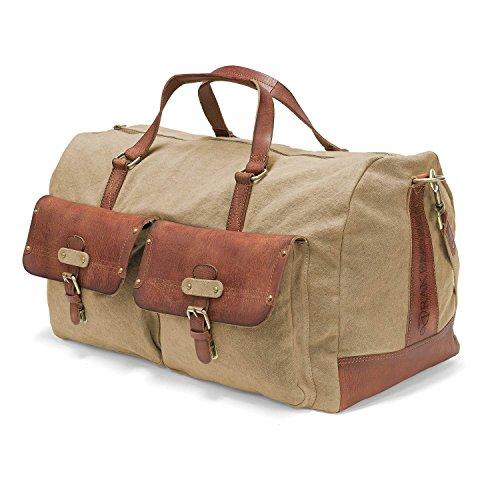 DRAKENSBERG Kimberley Long Weekender, borsa da viaggio, borsone, grande, bagaglio, tela, canvas, pelle, vintage, lussuosamente, sabbia, marrone