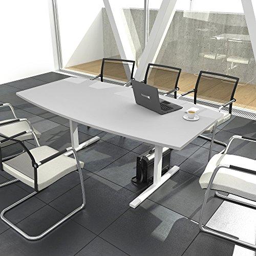 EASY Konferenztisch Bootsform 180x100 cm Lichtgrau Besprechungstisch Tisch, Gestellfarbe:Weiß