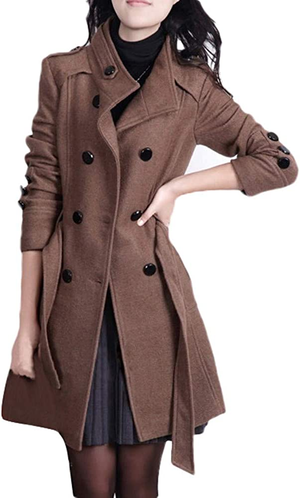 DIOMOR Classic Double Breasted Trench Coat with Belt for Women Fashion Business Lapel Pea Coat Thick Warm Windbreaker