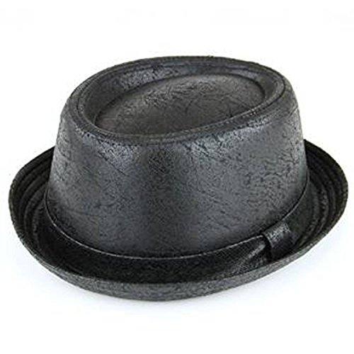 The Express Hats - Chapeau unisexe Trillby Noir Rétro Look Usé - Noir, 59cm M/L
