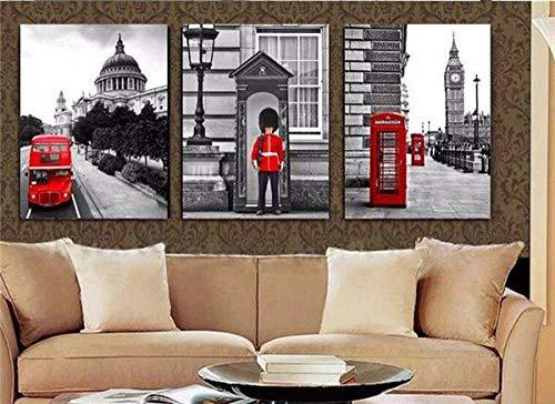 3 piezas Venta caliente Soldados modernos Stand Guardia Pintura Cabina telefónica de Londres Arte decorativo para el hogar Pintura sobre lienzo T / 725 40 * 60 cm Enmarcado