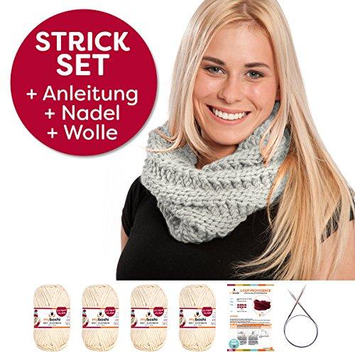 myboshi Strick-Set Schal Providence | Strickanleitung + Strick-Garn | mit Stricknadel | Schal-Strick-Set | Elfenbein