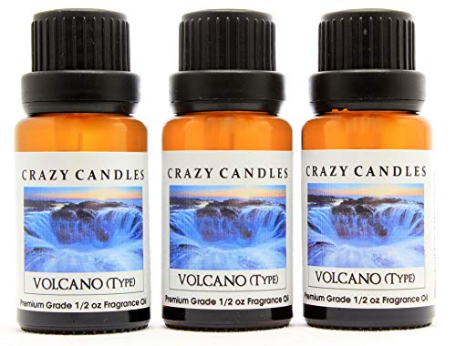 Crazy Candles Volcano (Type) 3 Bottles 1/2 Fl Oz Each (15ml) Premium Grade Diffuser Fragrance Oil