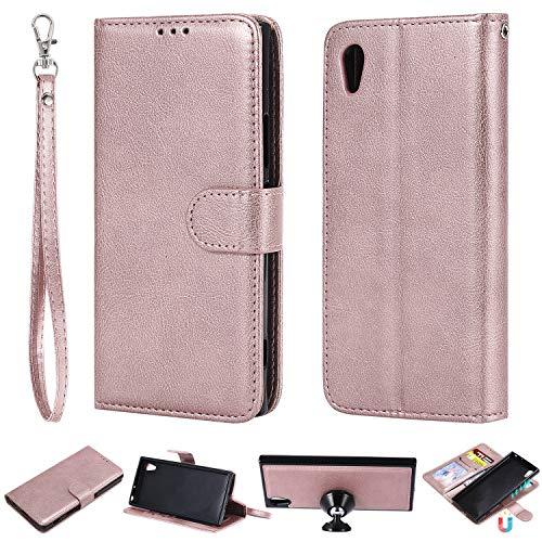 nancencen Kompatibel mit Sony Xperia XA1 / Z6 Handyhülle, Magnetische TPU 2 in 1 Wallet (Karten Slot) Schutzhülle PU Leder Flip Cover Lederhülle Hülle - Roségold