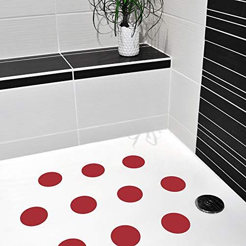 10 STK. Anti-Rutsch Sticker für Duschen & Badewannen, farbig, Rutschklasse C DIN 51097, selbstklebend (rot)