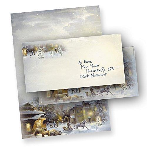 Briefpapier WINTER-AQUARELL, 100 Sets mit Umschläge ohne Fenster, 100 Blatt + 100 Umschläge Weihnachtsbriefpapier