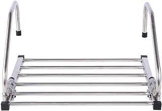 JHome-Drying rack Tendedero de Acero Inoxidable para Colgar en el radiador, Toalla, Ropa Plegable, tendedero de lavandería, Longitud Ajustable (44~82 cm), 6 Barras de Soporte para Interior o Cocina