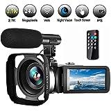 Videokamera Camcorder Ultra HD 2,7K 30FPS WiFi Camcorder Kamera mit Mikrofon Videokamera 3,0 Zoll Touchscreen Unterstützung Pausenfunktion und IR Nachtsicht