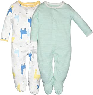 Hisharry Baby Girls Footed Pajamas 3-Pack Cotton Infant Overall Sleeper and Play