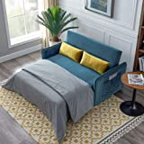 NOUVCOO 2021 Velvet Sofa Bed with Pull Out Sleeper and 2 Lumbar Pillow for Living Room or Bedroom, Compact Soft Blue