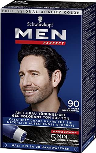 Men Perfect Schwarzkopf 90 Haartönung Natur schwarz, hochwertige Haarfarbe gegen graue Haare 3er Pack (3 x 80ml)