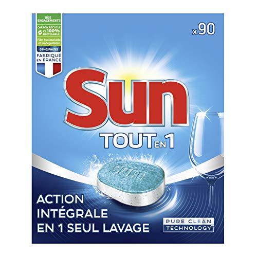 Sun - Pastillas para lavavajillas todo en 1 estándar 180 lavados (lote de 2 x 90 lavados)