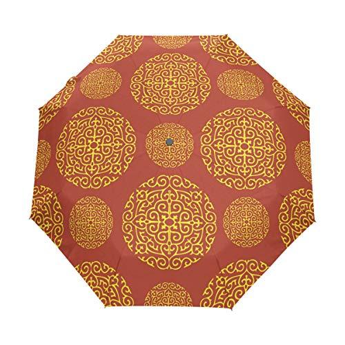 FANTAZIO Drie Vouwen Reizen Paraplu Rood Goud Behang Voor Muren Auto Open Paraplu