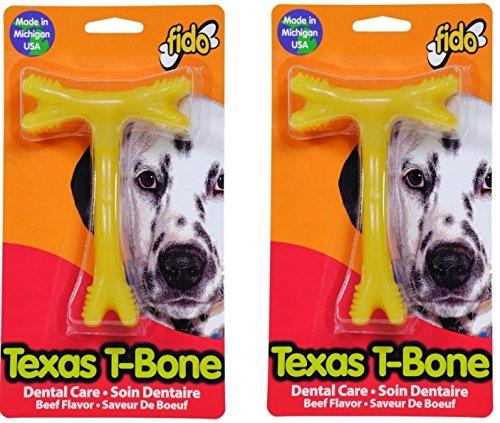(2 Pack) Fido Texas T-Bone Dental Dog Bone, Beef Flavored, Medium 5-1/2'