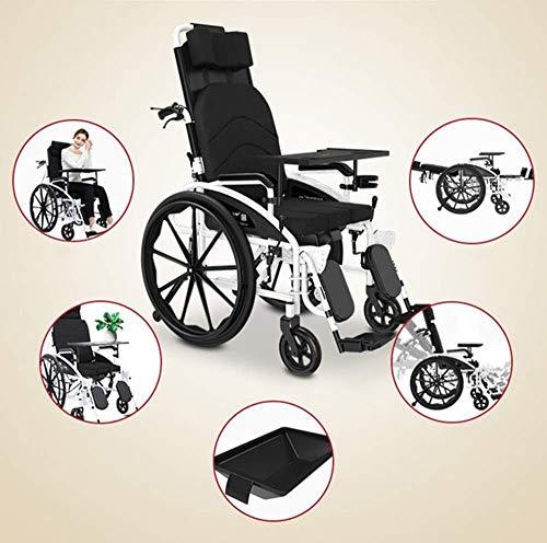 HAOSHUAI Rollstühle 24 kg zusammenklappbarer Transportrollstuhl Hebebeinkontrolle Rückenlehne Sitz halb liegend 150 kg Traglast 47 x 40 cm Sitz, abnehmbarer DesktopAmp, Toilettenstuhl fgk