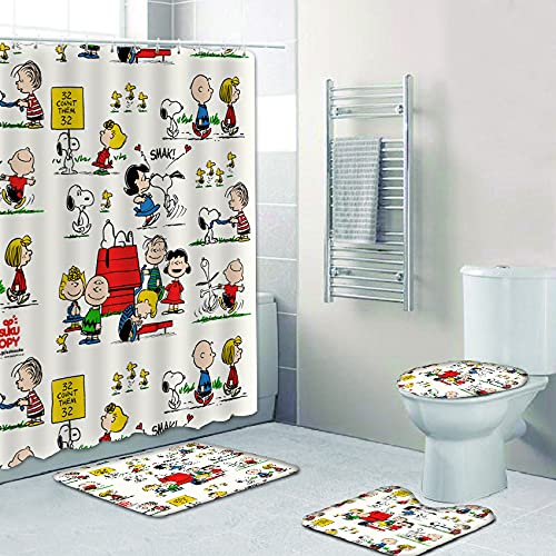Stayhousi Cartoon Snoopy Shower Curtain Bathroom Sets,4 Piece Colorful Shower Curtains with Rugs,Toilet Lid Cover Bath Mat 12 Hooks