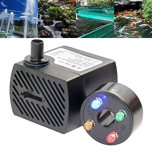 MINGMIN-DZ Dauerhaft 5W Mini Tauchwasserpumpe mit LED-Leuchten-Wasser-Brunnen-Pumpe Fischteich-Aquariumbehälter Wasserpumpe 350L / H