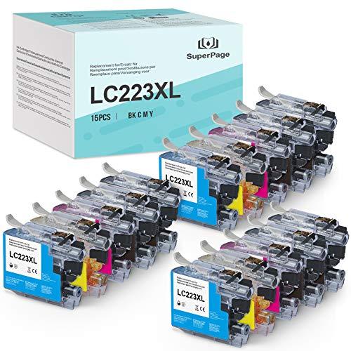 15 Superpage kompatibel für Brother LC223 LC223XL Multipack Druckerpatronen für Brother MFC-J5320DW MFC-J5620DW MFC-J5720DW DCP-J562DW DCP-J4120DW MFC-J4420DW MFC-J4620DW MFC-J480DW MFC-J680DW J880DW